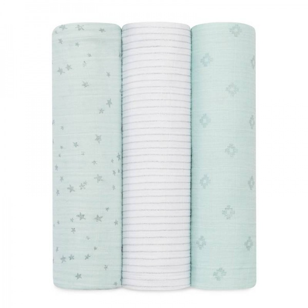 Aden + Anais Metallic  Skylight Silver 3 Pack Swaddles