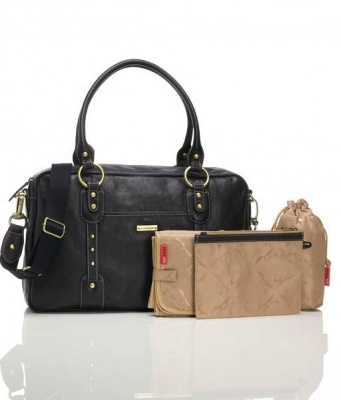 Elizabeth Leather Black Changing Bag by Storksak
