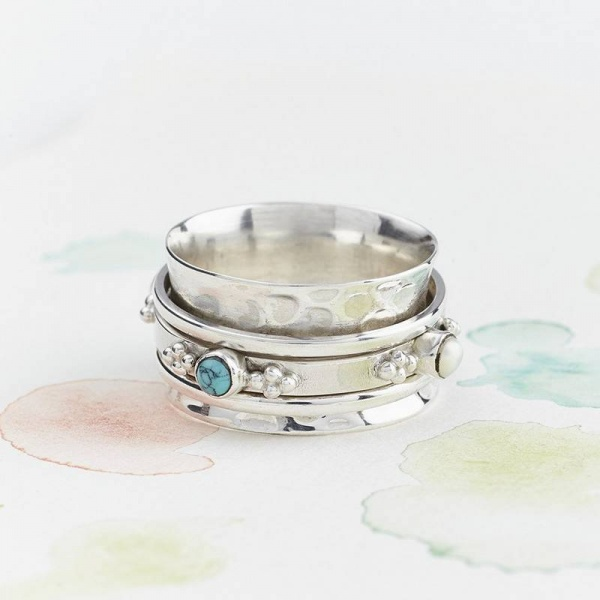 Charlotte's Web Rajput  Silver Precious stone spinning ring