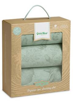 Little Green Sheep Rabbit Print Crib Bedding Set