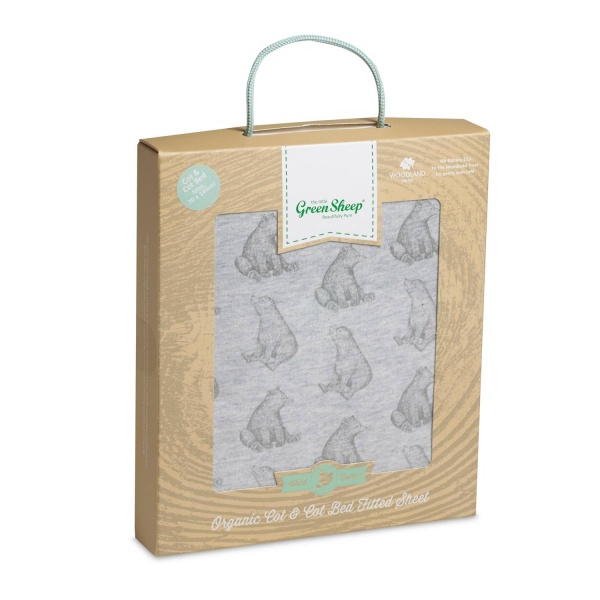 Little Green Sheep Bear  Print Cot Bed Sheet