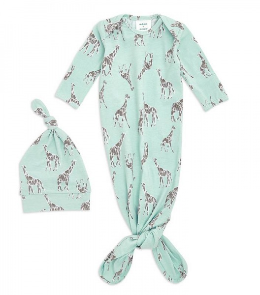 Aden + Anais knotted Gown and Hat Set Jade
