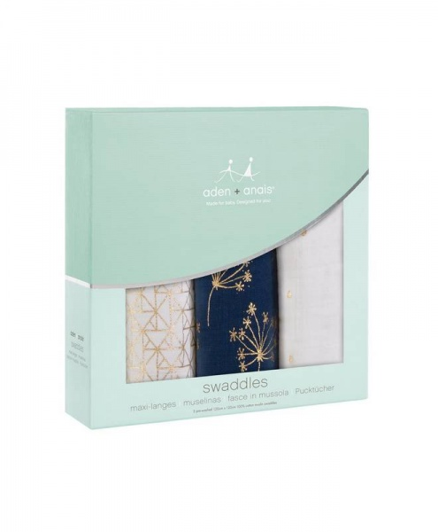 Aden + Anais 3 pack Metallic Gold deco swaddles