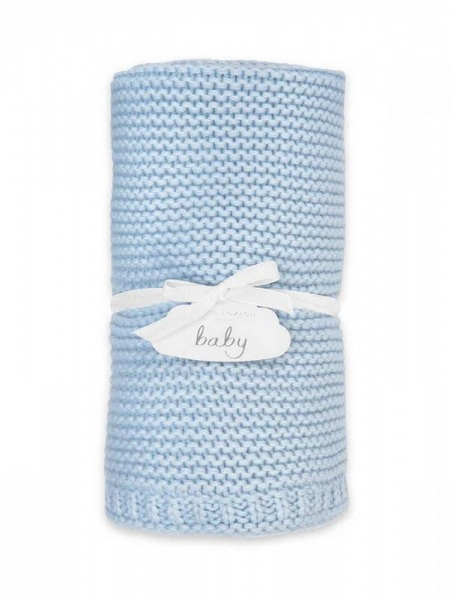 Katie Loxton Cotton Knitted Baby Blanket Blue