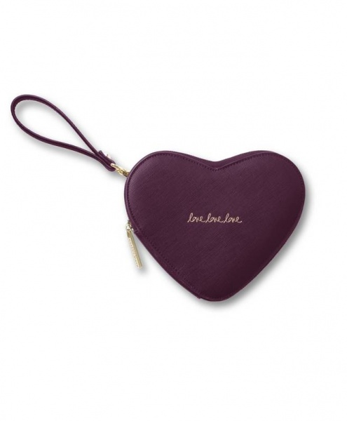 Katie Loxton Love Heart Pouch Burgundy