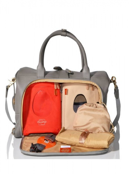 PacaPod Loreto Leather changing bag in Putty