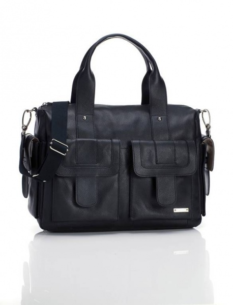 Storksak Sofia Black Leather Changing Bag