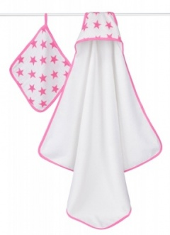 Aden + Anais towel and washcloth fluro Pink
