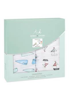 Aden + Anais Two Pack Swaddles Whales and Boats