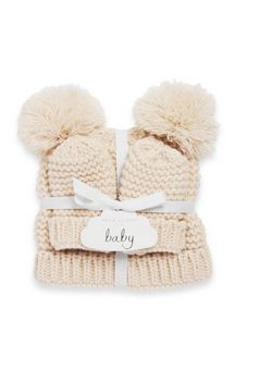 Katie Loxton Baby Hat and Mittens Cream