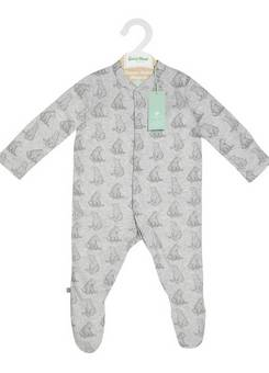 Little Green Sheep Sleepsuit Bear Print