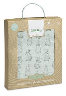 Little Green Sheep Rabbit  Print Cot Bed Sheet