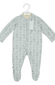 Little Green Sheep Sleepsuit Rabbit Print