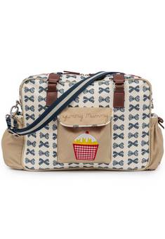 Pink Lining Navy  Bows Yummy Mummy Changing Bag