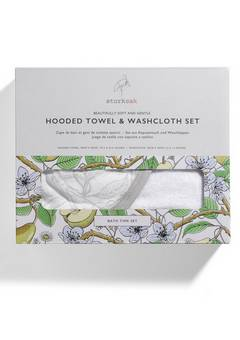 Storksak Hooded Towel and Wash Cloth Garden Print